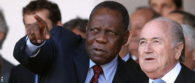Issa Hayatou (left) is standing in for the suspended Sepp Blatter