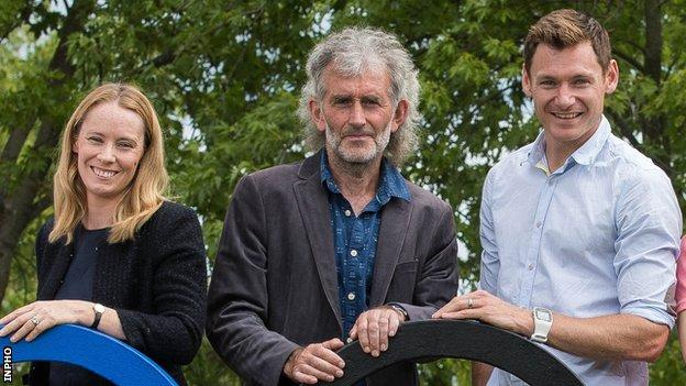 Jerry Kiernan (centre) with fellow RTE athletics pundits Derval O'Rourke and David Gillick