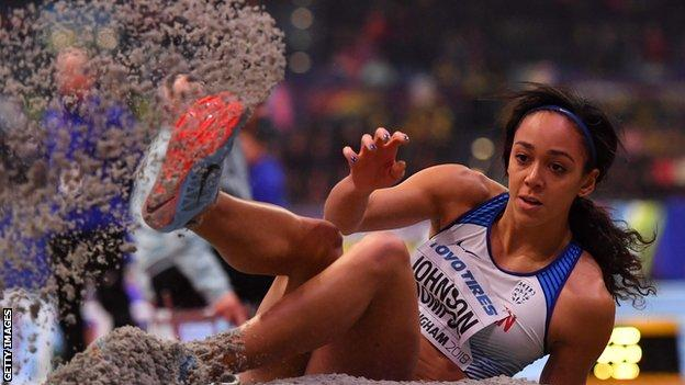 Johnson-Thompson led after the fourth event of five, where she jumped 6.50m on two occasions in the long-jump