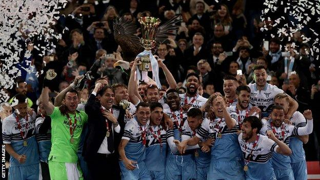Lazio celebrate winning the Coppa Italia