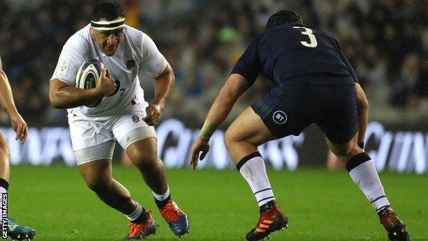 Mako Vunipola plays against Scotland