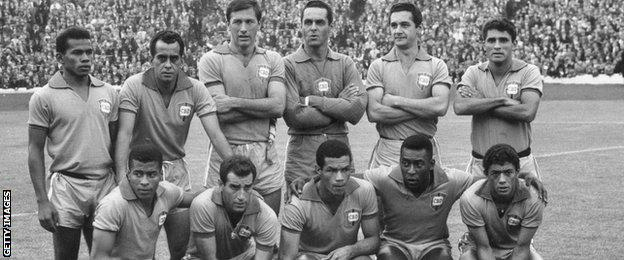 Pele (front row, second from right) with his Brazil team-mates at Hampden in 1966