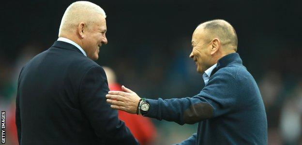 Wales head coach Warren Gatland and England head coach Eddie Jones shake hands before the Six Nations match at the Principality Stadium in Cardiff
