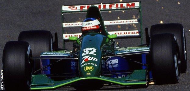 Jordan-Ford driver Michael Schumacher makes his F1 debut during the 1991 Belgian Grand Prix