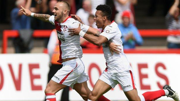 Harriers fans have not had many goals to celebrate this year at Aggborough, where they have won just once in 19 games