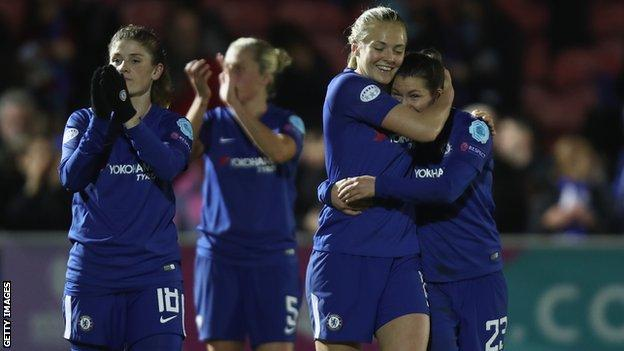 Chelsea Ladies players celebrate after the Blues reached the semi-finals of the Women's Champions League