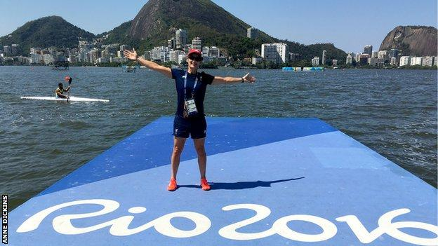 Anne Dickins at the Lagoa in Rio on her race day during the 2016 Paralympics