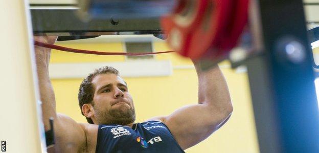 Scotland's Fraser Brown during weight training