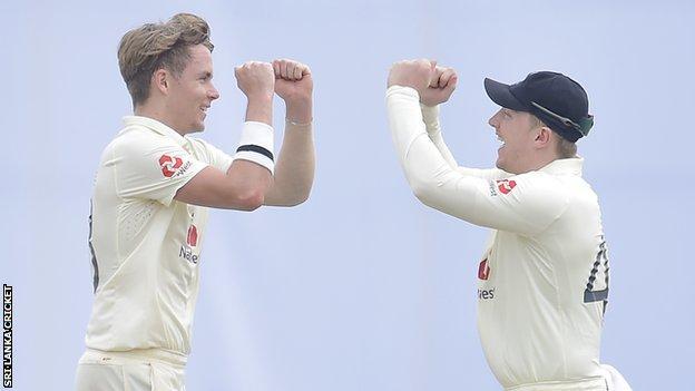 Sam Curran and Dom Bess celebrate wicket