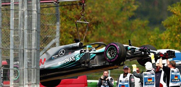 Lewis Hamilton's Mercedes is lifted off the track during qualifying for the German Grand Prix