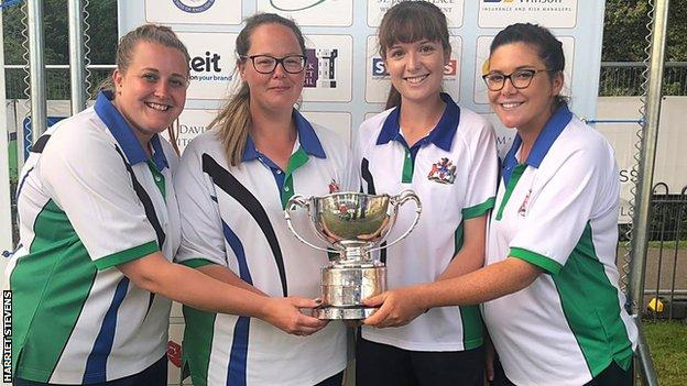 Harriet Stevens (right) with her Kings Bowls Club teammates Emma Cooper, Lauren Hackett and Hayley James after winning the national fours title
