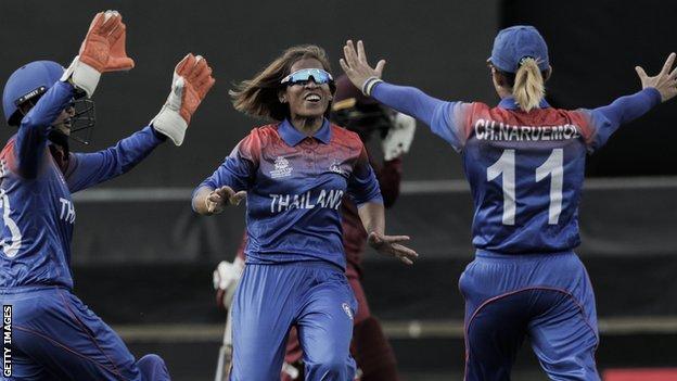 Thailand captain Sornnarin Tippoch celebrates a New Zealand wicket