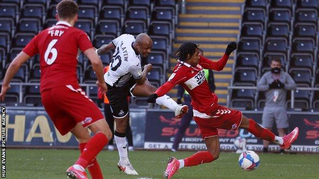 Andre Ayew fires home his 12th goal of the season