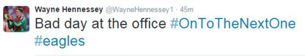 Wayne Hennessey tweet
