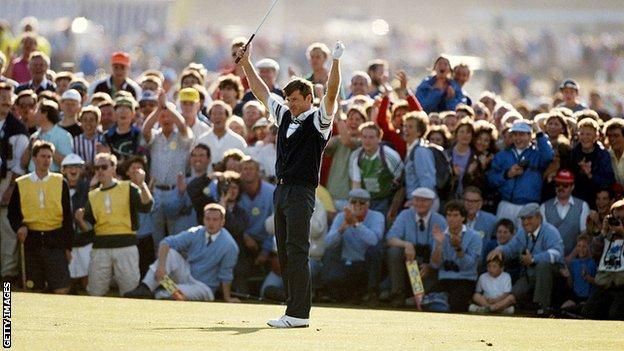 Nick Faldo celebrates winning The Open in 1990 at St Andrews