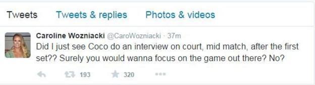 Caroline Wozniacki tweet