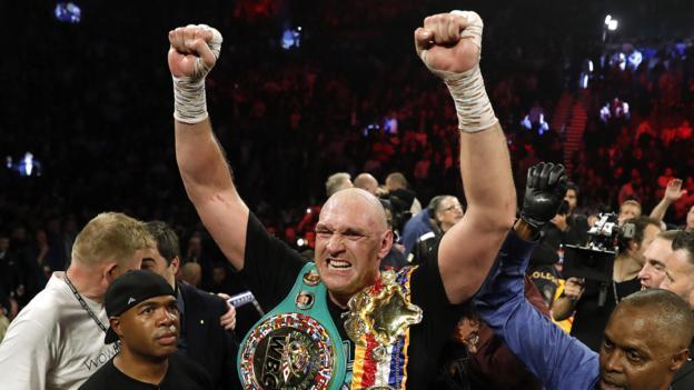 Tyson Fury beats Deontay Wilder in world title fight in Las Vegas