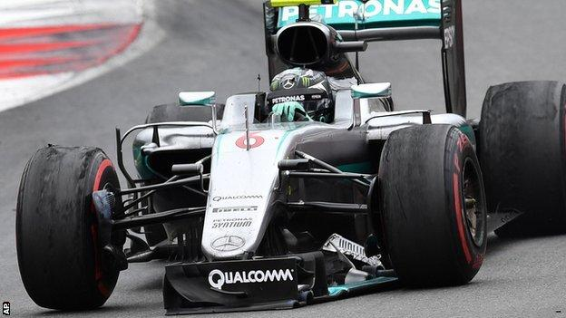 Nico Rosberg's damaged car after colliding with Lewis Hamilton at the Austrian Grand Prix