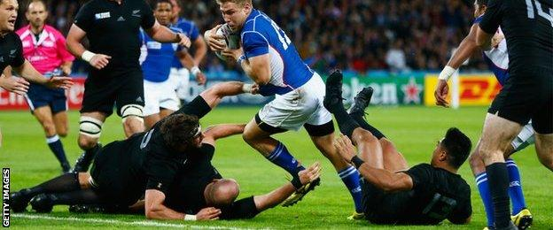Namibia score their opening try against New Zealand