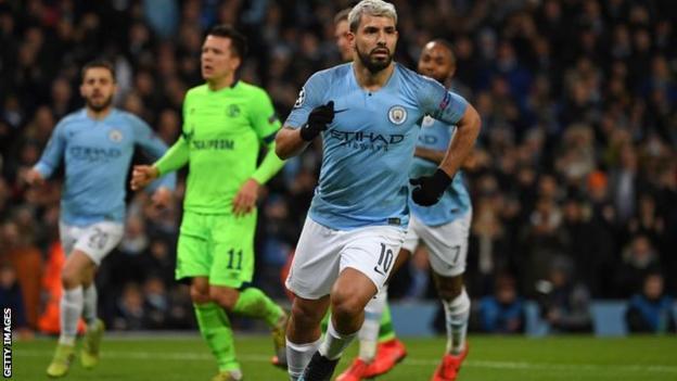 Manchester City striker Sergio Aguero celebrating