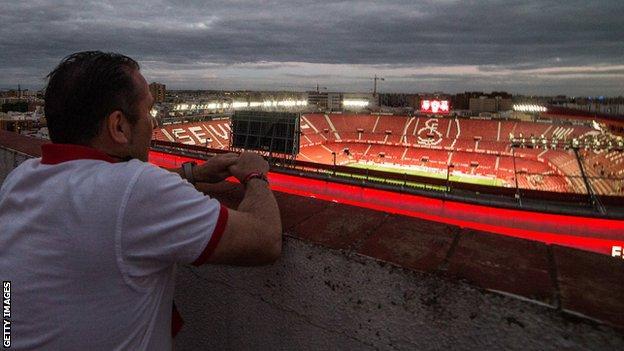 Sevilla fan watches on