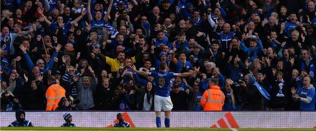Jamie Vardy of Leicester celebrates in front of fans