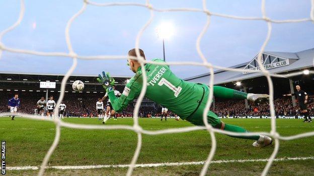 Daniel Iversen saves Mitrovic's penalty