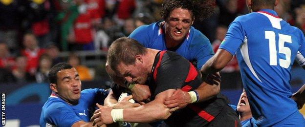 Gethin Jenkins scores for Wales against Namibia at the 2011 RWC