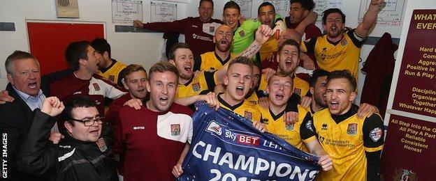Northampton Town celebrate the title