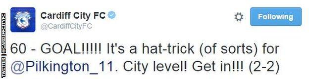 Cardiff City tweet
