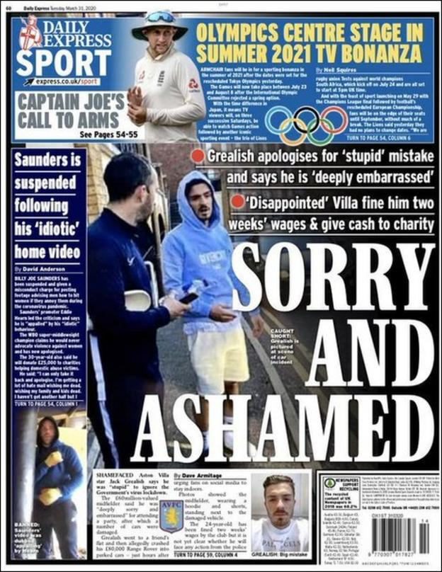 Express back page on Tuesday, 31 March