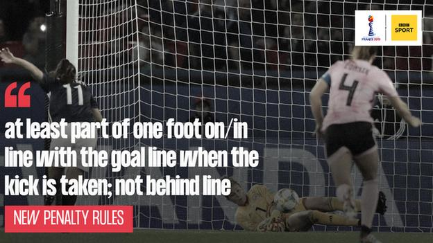 Graphic of new penalty rule with picture of Scotland's Lee Alexander saving a spot-kick that was retaken and scored