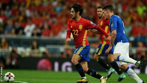 Isco scored two goals in Spain's 3-0 win over Italy in February