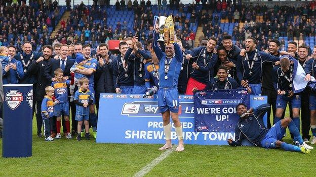 Shrewsbury Town celebrate promotion, May 2015