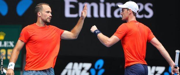 Bruno Soares and Jamie Murray celebrate in Australia