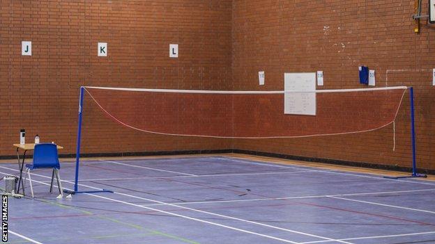 An empty badminton court
