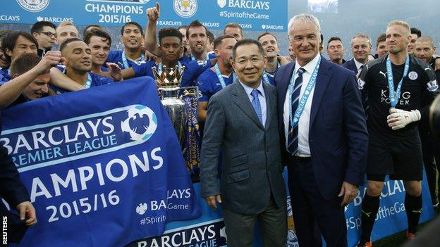 Leicester City and chairman Chairman Vichai Srivaddhanaprabha celebrate