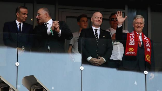 FTF president Wadie Jary (left) watches Tunisia at the 2018 World Cup alongside Fifa president Gianni Infantino (second from right)