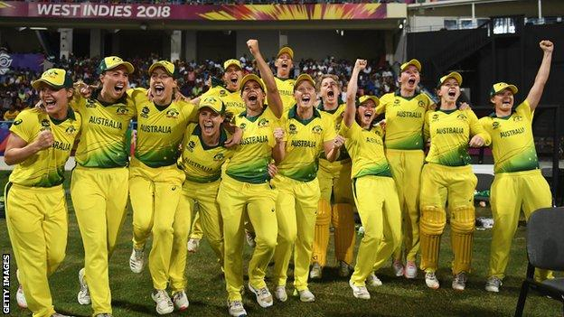 Australia celebrate their victory in the final