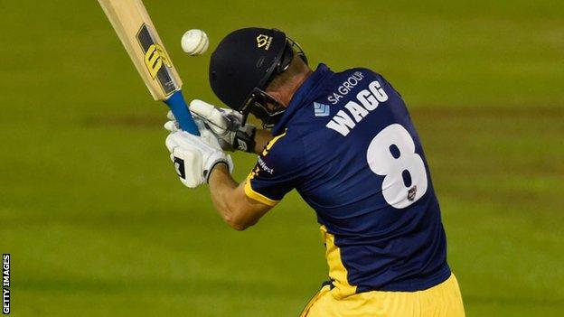 Graham Wagg is struck on the head while batting for Glamorgan