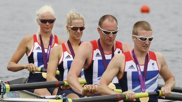 The winning mixed coxed four at the London Paralympics