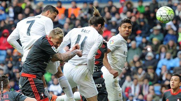 Ronaldo scores with a header against Celta Vigo