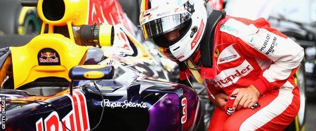"""Sebastian Vettel came closest to challenging the Mercedes, admitting he had to """"take more risks"""" to try to get close"""
