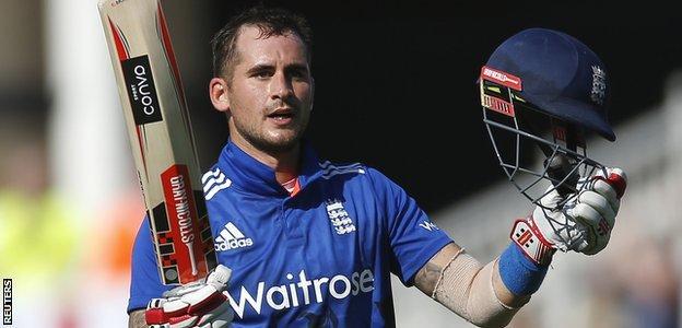 England batsmen Alex Hales