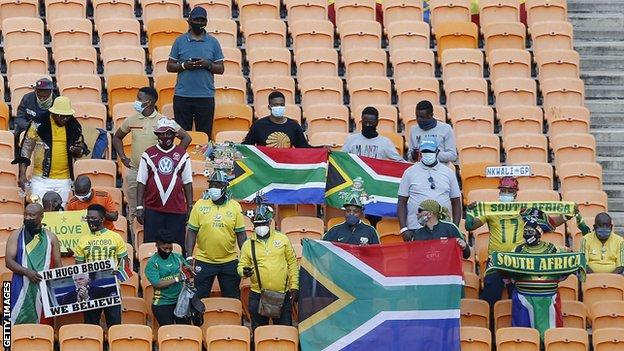 South Africa fans in the stands at the FNB Stadium