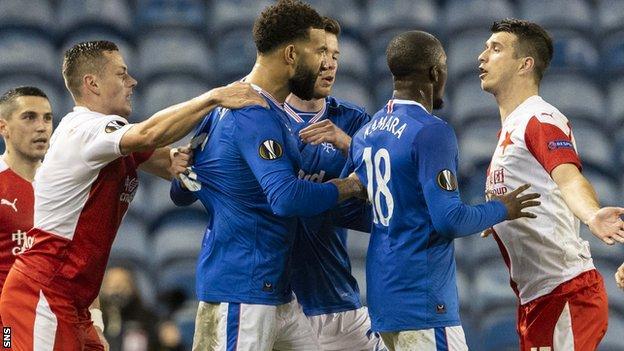 Racist abuse of Glen Kamara marred Rangers' Europa League last-16 tie with Slavia Prague last season