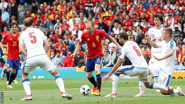 Andres Iniesta made more passes (77) in the opposition half than any player and provided the cross for the winner