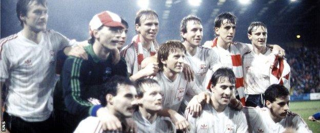 Aberdeen celebrate beating Hamburg to win the European Super Cup