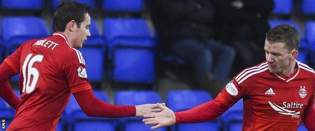 Aberdeen's Peter Pawlett is congratulated by Jonny Hayes