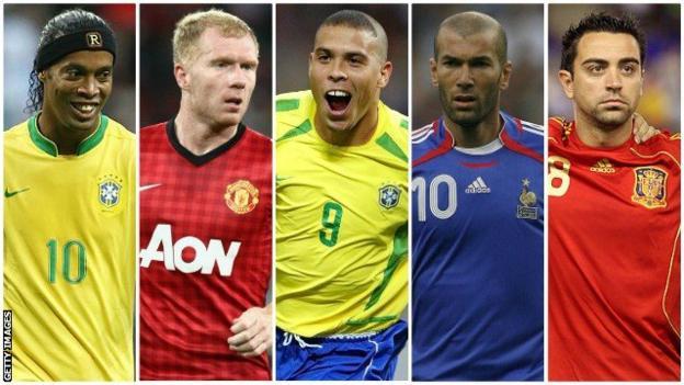 Ronaldinho, Paul Scholes, Ronaldo, Zinedine Zidane and Xavi split pic